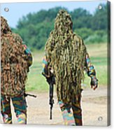 Two Snipers Of The Belgian Army Dressed Acrylic Print