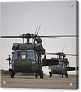Two Uh-60 Black Hawks Taxi Acrylic Print by Terry Moore
