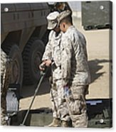 Two U.s. Marines Use A Mine Detector Acrylic Print