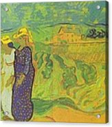 Two Women Crossing The Fields Acrylic Print