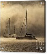Two yachts in dawn mist Acrylic Print