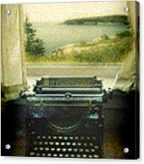 Typewriter By Window Acrylic Print