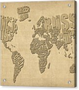 Typographic Text Map Of The World Acrylic Print