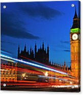 Uk, England, London, Big Ben And Light Trails At Night Acrylic Print