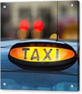 Uk, England, London, Sign On Taxi Cab Acrylic Print