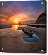 Ultra Low Tide Sunset At A North San Acrylic Print
