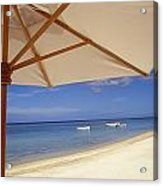 Umbrella And Tropical Beach, Close Up Acrylic Print