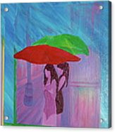 Umbrella Girls Acrylic Print