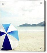 Umbrella On Sand Acrylic Print by Grace Oda