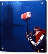 Underwater Photographer Takes Photos Acrylic Print by Michael Wood