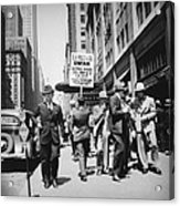 Union Men Picketing Macys Department Acrylic Print by Everett