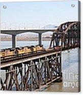 Union Pacific Locomotive Trains Riding Atop The Old Benicia-martinez Train Bridge . 5d18850 Acrylic Print