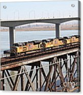 Union Pacific Locomotive Trains Riding Atop The Old Benicia-martinez Train Bridge . 5d18851 Acrylic Print