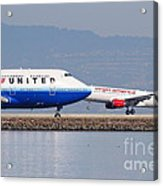 United Airlines And Virgin America Airlines Jet Airplanes At San Francisco International Airport Sfo Acrylic Print