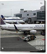 United Airlines At Foggy Sfo International Airport . 5d16937 Acrylic Print