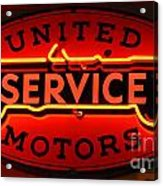 United Motors Service Neon Sign Acrylic Print
