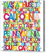 United States Usa Text Bus Blind Acrylic Print
