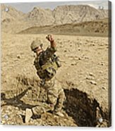 U.s. Air Force Soldier Throws A Frag Acrylic Print