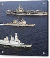 U.s. And French Navy Ships Transit Acrylic Print