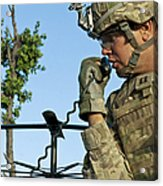 U.s. Army Soldier Calls For Indirect Acrylic Print