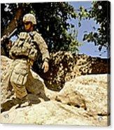 U.s. Army Soldier Climbs Down A Hill Acrylic Print