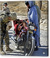 U.s. Army Soldier Conducts Vehicle Acrylic Print