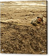 U.s. Army Soldier Fights Racing Water Acrylic Print