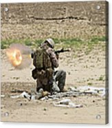 U.s. Army Soldier Fires Acrylic Print