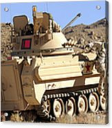 U.s. Army Soldier Jumps Off An M113 Acrylic Print