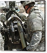 U.s. Army Soldier Loads A 105mm Acrylic Print