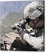 U.s. Army Soldier Monitors An Afghan Acrylic Print