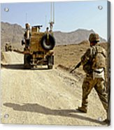 U.s. Army Soldier Moves To His Mrap Acrylic Print