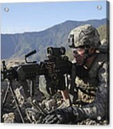 U.s. Army Soldier Provides Overwatch Acrylic Print