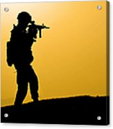 U.s. Army Soldier Secures An Area Acrylic Print
