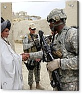 U.s. Army Soldier Shakes Hands With An Acrylic Print