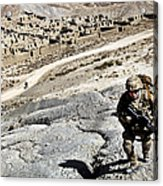 U.s. Army Soldiers And Afghan Border Acrylic Print