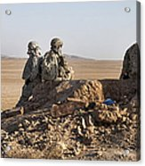 U.s. Army Soldiers At A Checkpoint Acrylic Print