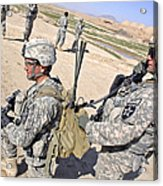 U.s. Army Soldiers Call In An Update Acrylic Print