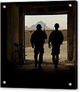 U.s. Army Soldiers Patrol A Village Acrylic Print