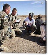 U.s. Army Soldiers Speak With Elders Acrylic Print