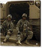 U.s. Army Soldiers Waiting At Patrol Acrylic Print