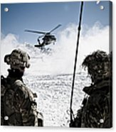 U.s. Army Soldiers Watch The Arrival Acrylic Print
