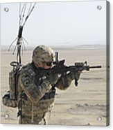 U.s. Army Specialist Scans His Area Acrylic Print