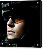 U.s. Army Specialist Waits To Dismount Acrylic Print