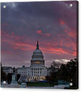 Us Capitol - Pink Sky Getting Ready Acrylic Print