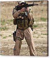 U.s. Contractor Firing A M4 Carbine Acrylic Print