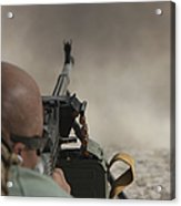 U.s. Contractor Firing The Pkm 7.62 Acrylic Print