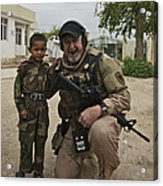 U.s. Contractor Poses For A Picture Acrylic Print