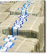 Us Dollar Bills In Bundles Acrylic Print by Adam Crowley