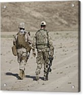 U.s. Marine And German Soldier Walk Acrylic Print